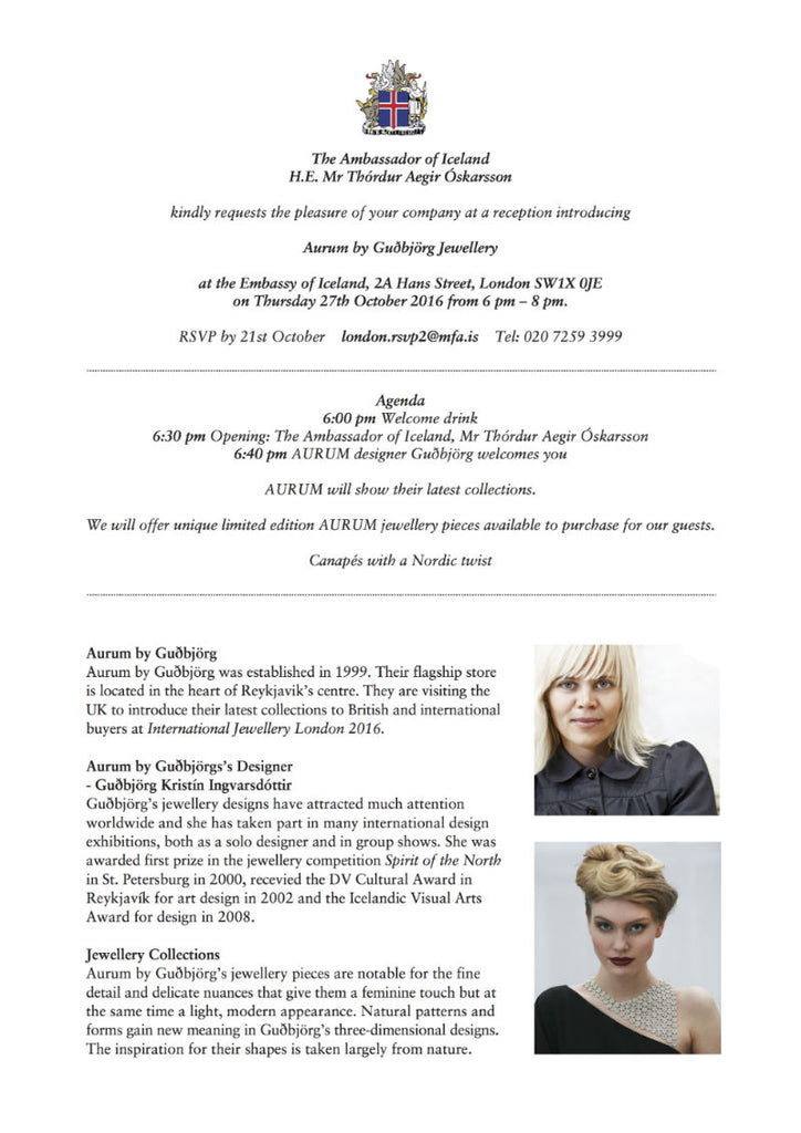 Invitation to the Icelandic Embassy London