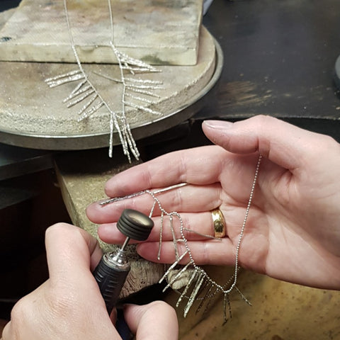 Aurum - Nanook Ice necklace being finished in our workshop