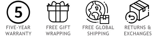 aurum offers you a five-year warranty, free gift wrapping, free global shipping, easy returns & exchanges
