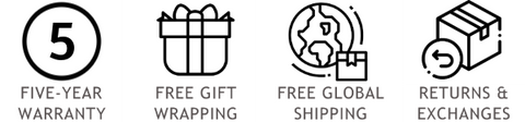 Free worldwide courier shipping, Free gift wrapping, 5-year unconditional warranty and lifetime repair / resizing service, Easy returns and exchanges