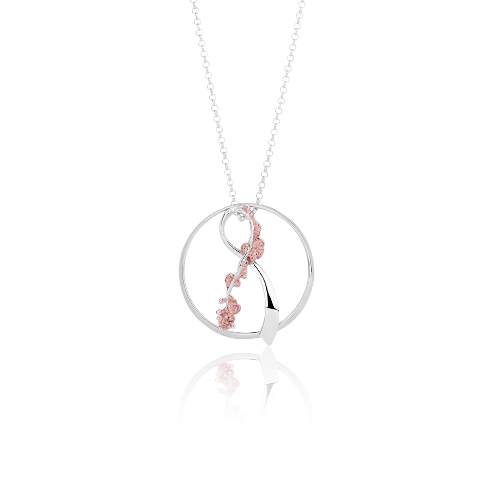 """Bleika slaufan"" Silver Necklace with Pink Enamel"