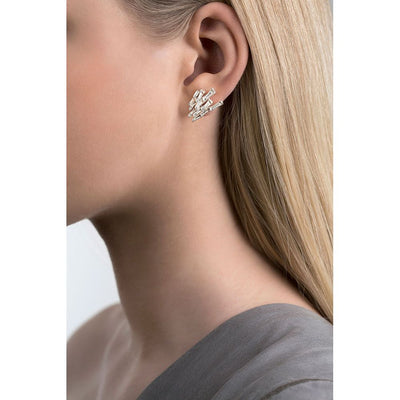 Cygnus earrings on model