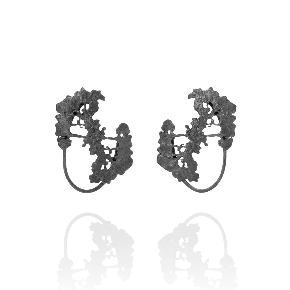 Erika Collection 106 OX - Stud Earrings in Oxidized 925 Sterling Silver - AURUM Icelandic Jewelry