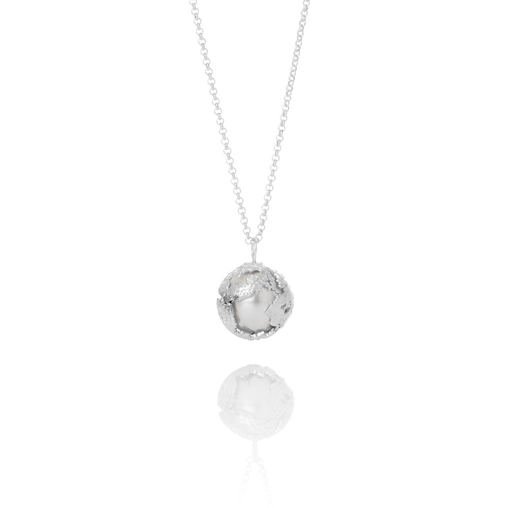 Erika Collection 207 - Sterling Silver Pendant Necklace with Swarovski Pearl - AURUM Icelandic Jewelry