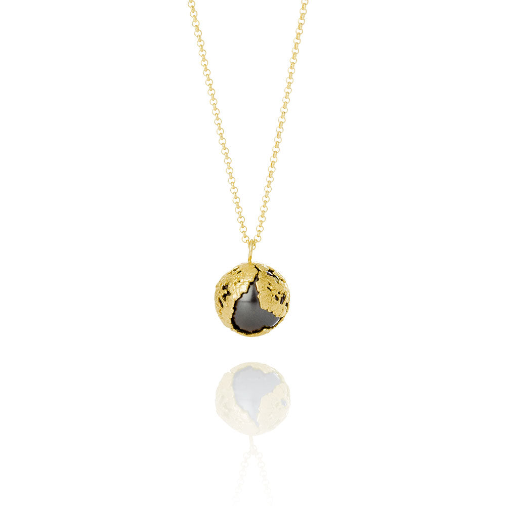 Erika Collection 207 GP BL - Gold-Plated Sterling Silver Pendant Necklace with Black Swarovski Pearl - AURUM Icelandic Jewelry