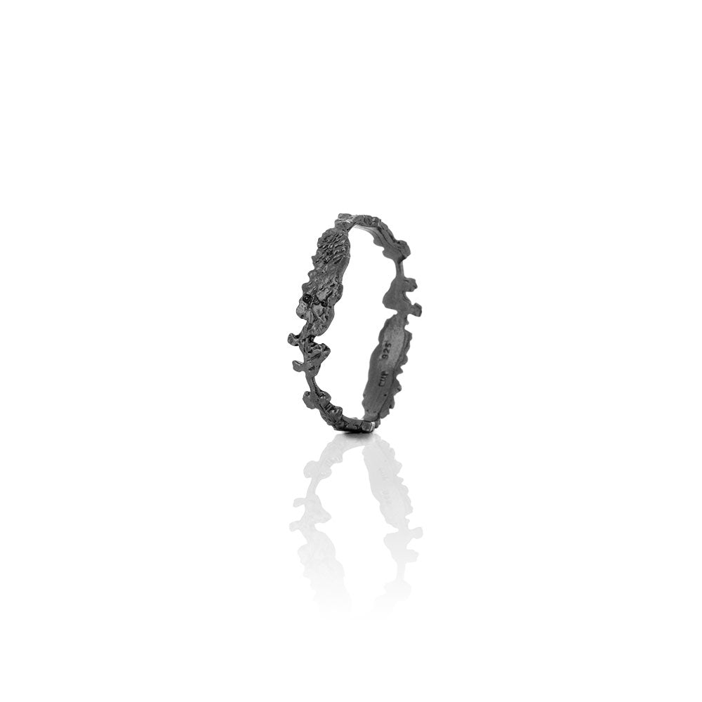 Erika Collection 401 OX - Oxidized Sterling Silver Ring Handmade in Iceland by AURUM Jewelry