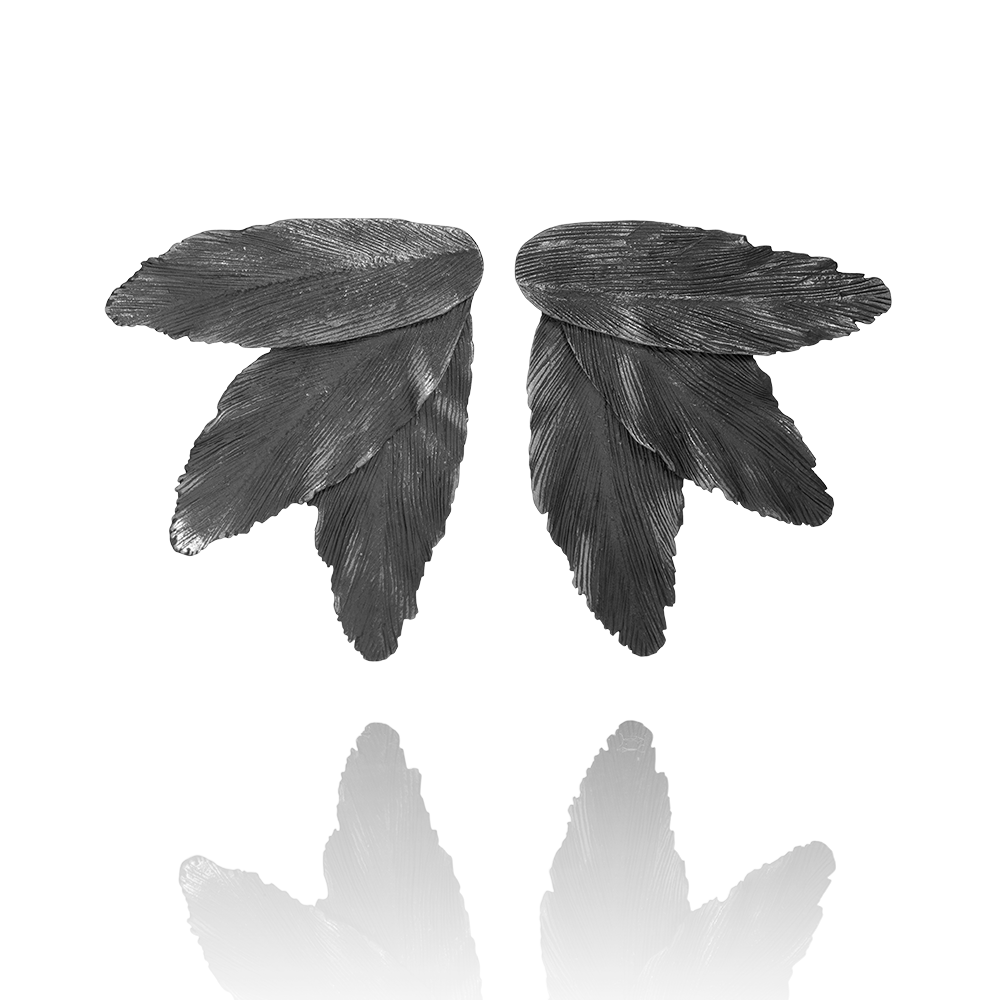 "Silver oxidized statement earrings ""Falcon"" handmade in Iceland by AURUM"