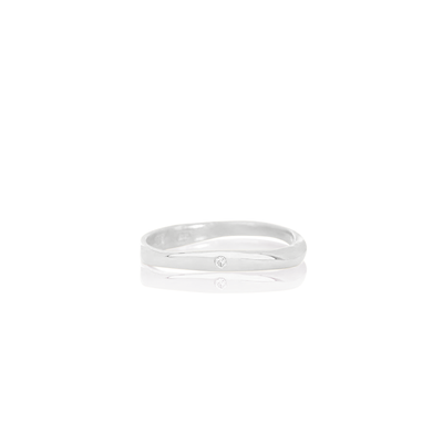 Women's solid white gold ring