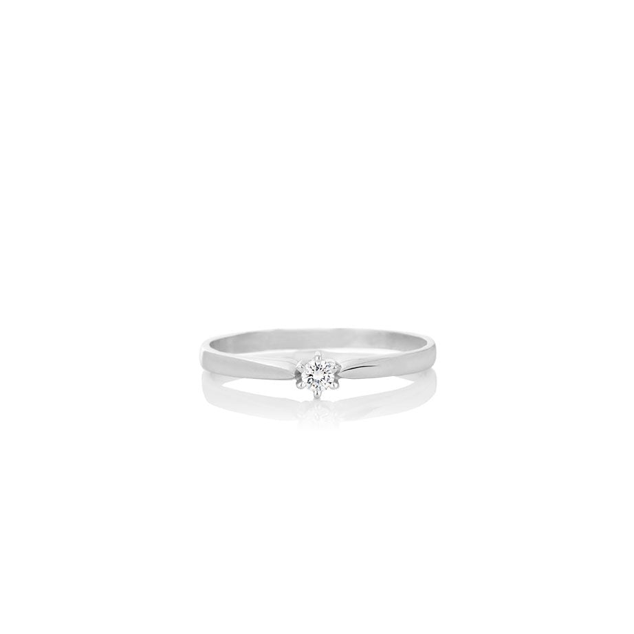 Women's solid white gold ring - DIAMOND CLAW