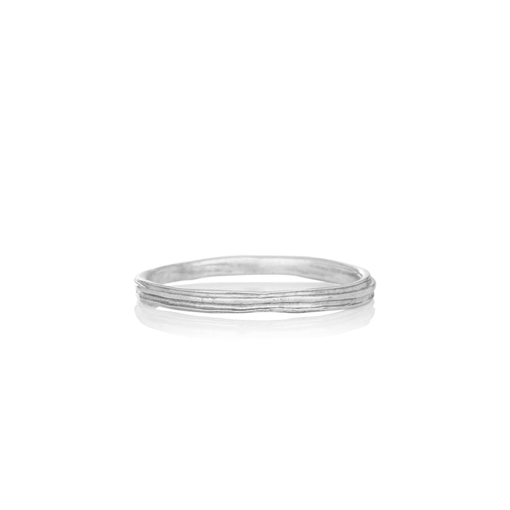Men's solid white gold ring - WATERFALL