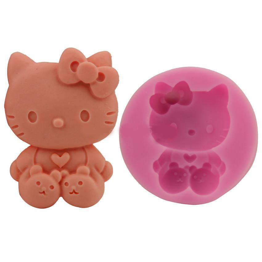 Hello Kitty Cat fondant moule à cake décoration en silicone