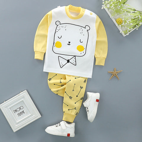 Cute Yellow-White Baby Suit