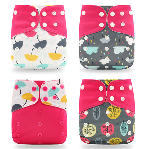 Colorful 4 pcs/set Washable Cloth Diaper (0-2years)