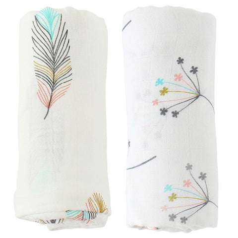 Double Layer Bamboo Cotton Muslin Baby Blanket  (2 pcs)
