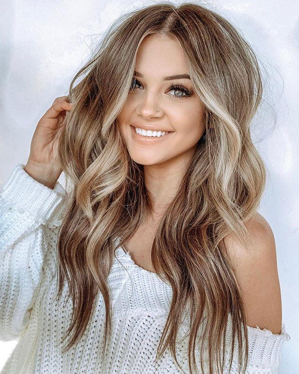 Honey Brown Middle Long Wave Wig