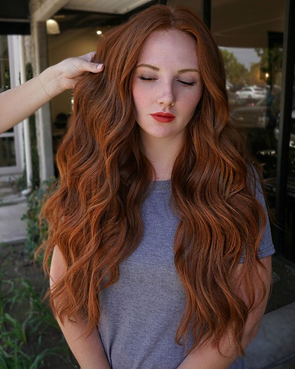 2020 Reddish Brown Long Wave Wig