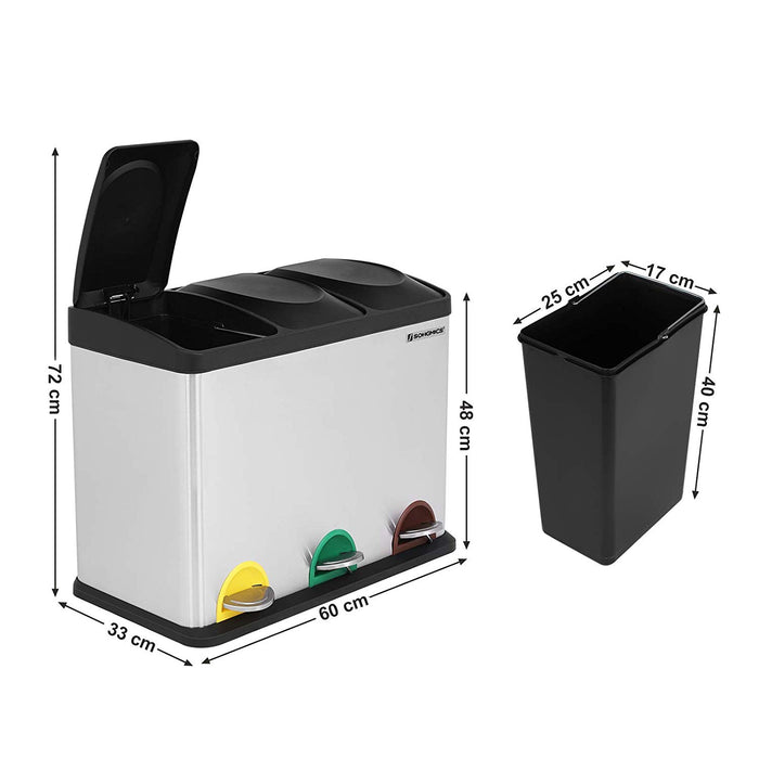 45L Recycling 3 Pedal Bin with 3 compartments - Dimensions 33cms d x 60cms w x 48cms h