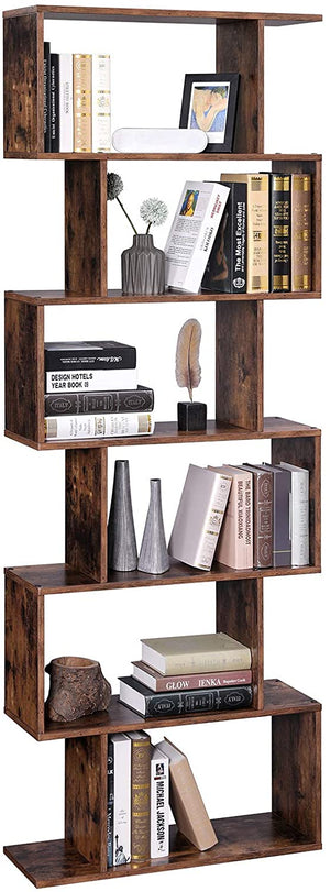 Modern Style Bookshelf  6 levels in wood books and decoration