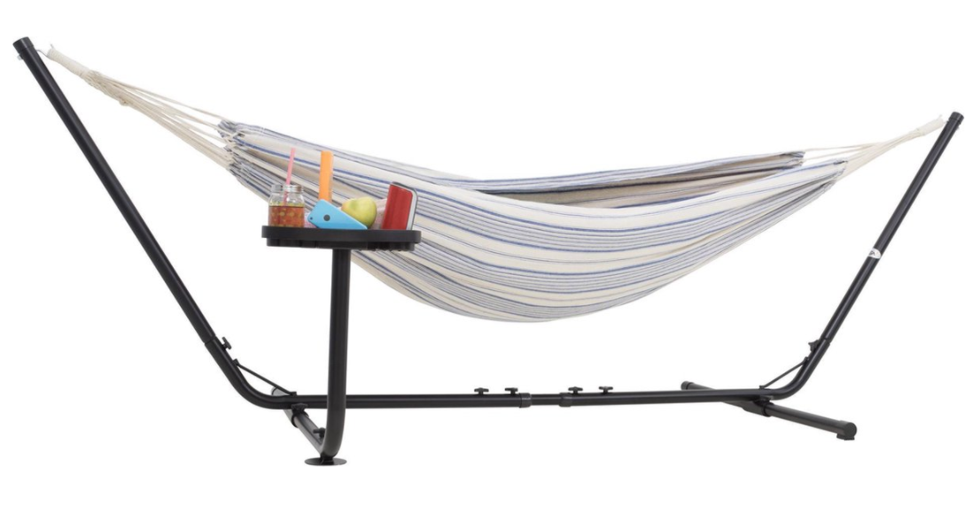Hammock for 2 with stand White and Blue
