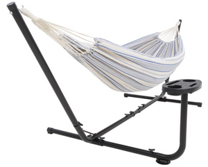 Hammock with stand  and cup holder white and blue