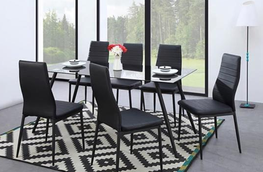 SIMON Batch Of 6 Dining Room Chairs In Simulated Black