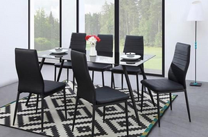 SIMON Batch of 6 dining room chairs in simulated black - Contemporary style - My Discount Malta