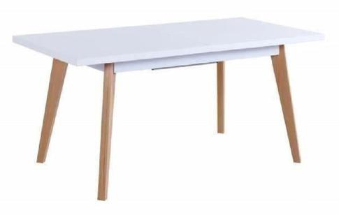 SPARTA Extending dining table 4 to 6 persons 160-190x80 cm - White and beige lacquered - My Discount Malta