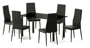 VALAIR Contemporary dining table set of 4 to 6 people + 6 chairs - L140xl80 cm - My Discount Malta