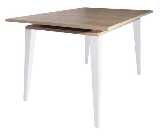 TULIO Extending table - Natural oak finish + Sloping legs in matt white lacquered solid beech - My Discount Malta