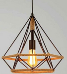 Wired Industrial style pendant light in black iron and rope- diameter: 25cm - My Discount Malta