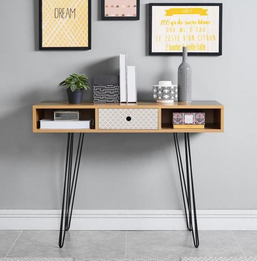 NICOLETTE Vintage oak and printed console - My Discount Malta