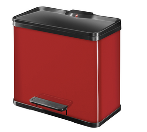 27L Waste Seperator for Kitchen Waste with 3 compartments - Red- My Discount Malta