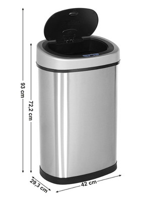50L Auto Sensor Bin for Kitchen Waste - Dimensions H 72.2cms x D 29.3cms x W 42cms