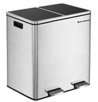 60L  2 pedal 2 compartments Kitchen Eco Waste Silver Trash Can - Silver