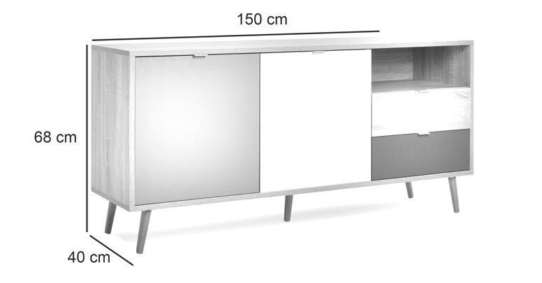 Scandinavian Style Buffet - sideboard table dimensions 150cms x 68cms x 40cms