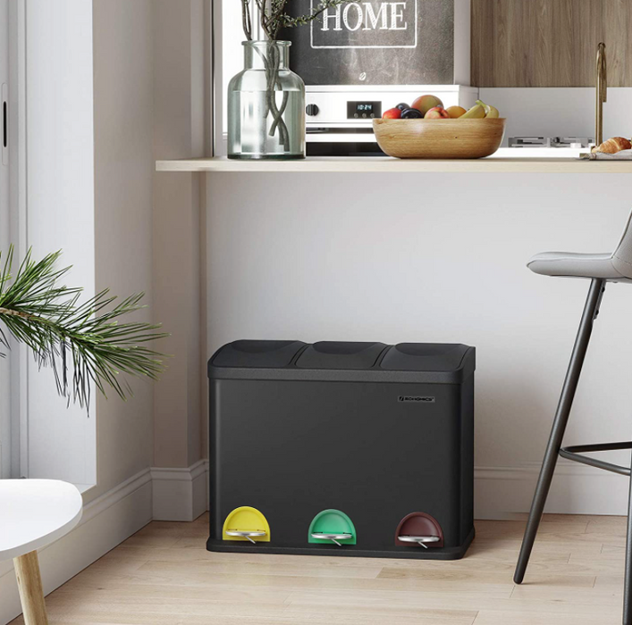 45L Recycling 3 Pedal Bin for Kitchen Waste    boutique-discount-malta.myshopify.com My Discount Malta