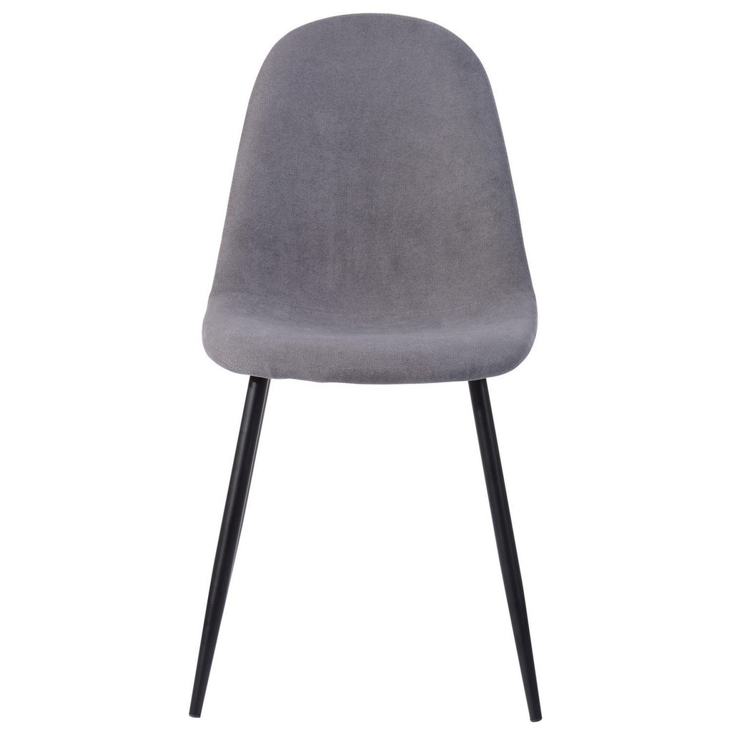 Charon Set of 4 Scandinavian Style Chairs - Dark grey fabric and metal feet