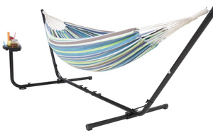 Hammock with stand for 2 with cup holder green, and blue