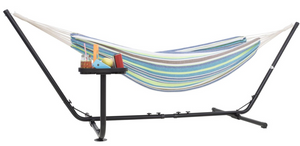 Hammock with stand for 2 with cup holder blue and green