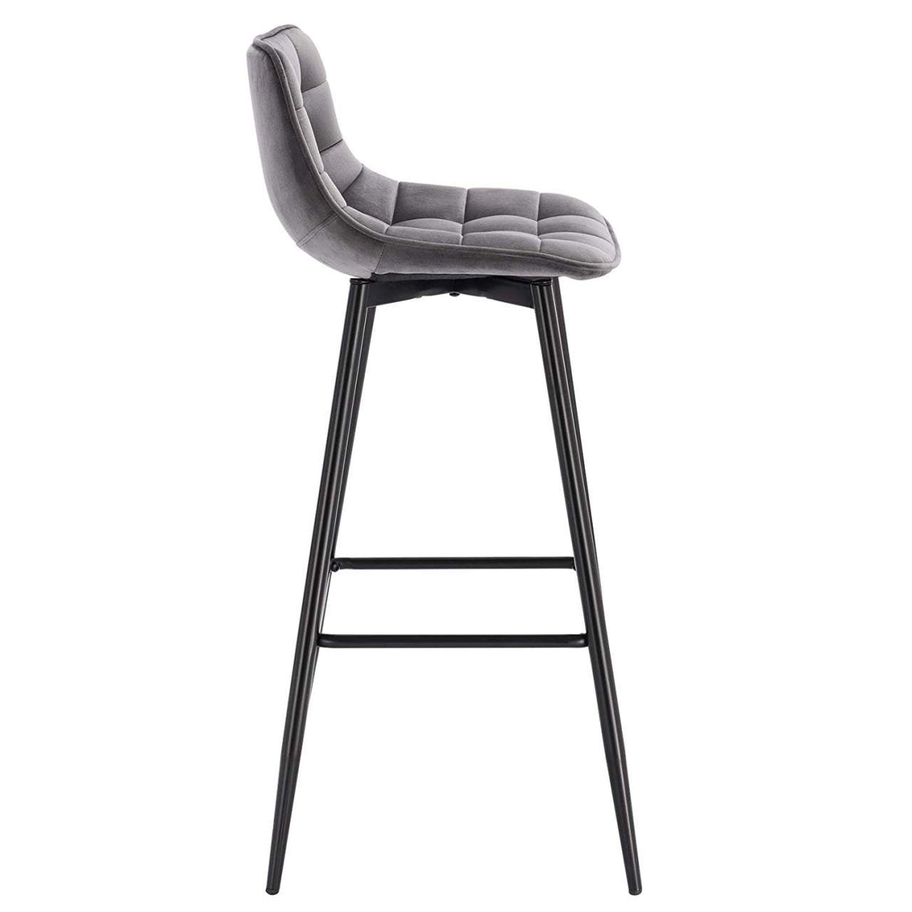 Tatiana Set of 2 Grey Velvet Bar Stools