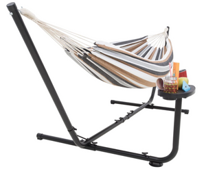 Hammock with stand grey and khaki for 2