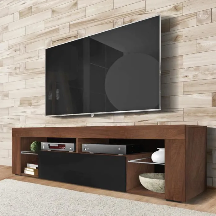 Oak tv cabinet with black matte without led