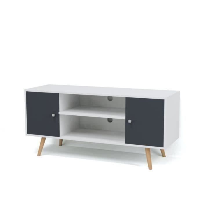 White and Grey TV Unit scandinavian style with 2 doors and 2 shelves