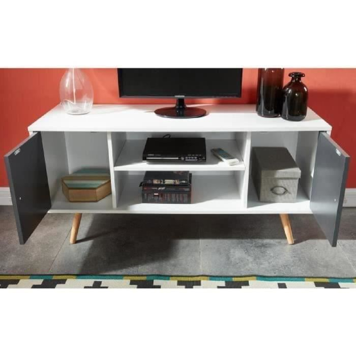 White and Grey TV Unit scandinavian style with 2 doors and 2 shelves opened