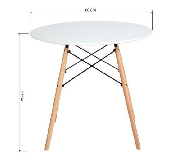 Mannie Round dining table for 2 to 4 persons - White - Scandinavian style - Diameter 80cms - My Discount Malta
