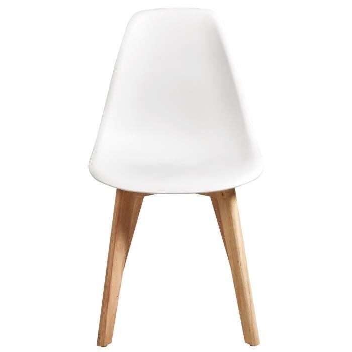 Set of 4 White Scandinavian Style Chairs- plastic body and rubber feet