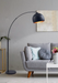 Black Arched Floor Lamp with copper in living room