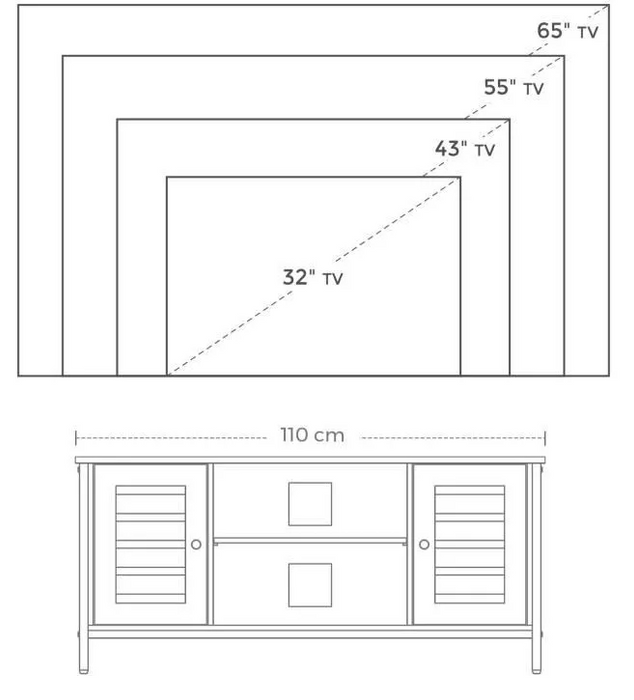 "Drawing of tv cabinet with several tv sizes from 32""  up to 65"""