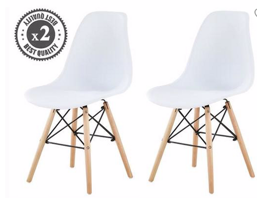 Mannie Set of 2 Modern Design Scandinavian Style Chairs - White - My Discount Malta