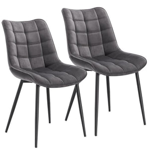 Tatiana Set of 2 Velvet Grey Chairs